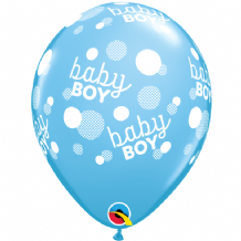 Baby Boy Blue Dots - 11 Inch Balloons 6pcs